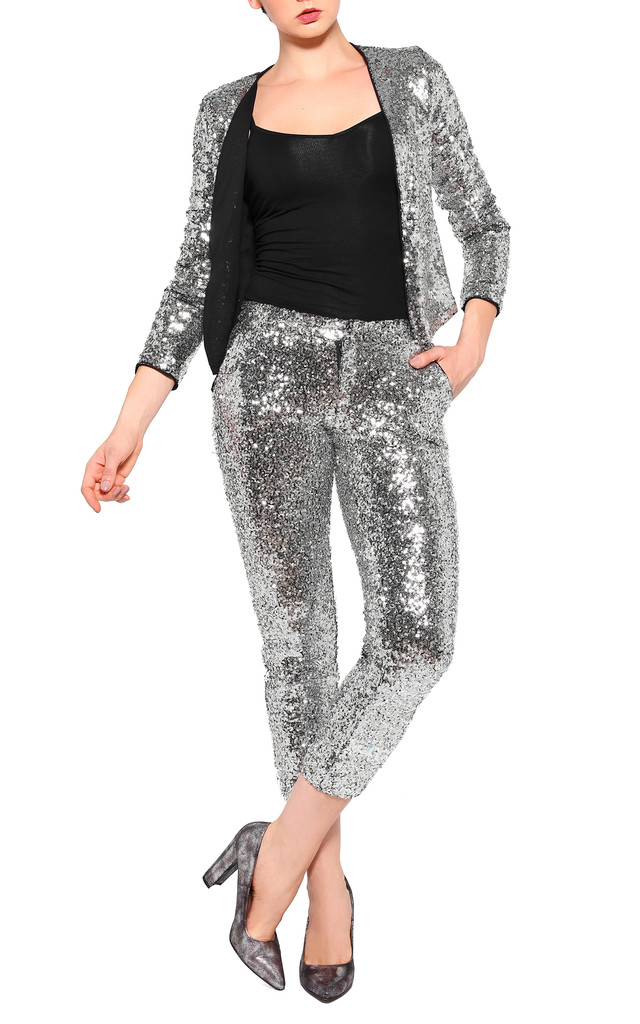 Sequin Cropped Trousers by Jezzelle
