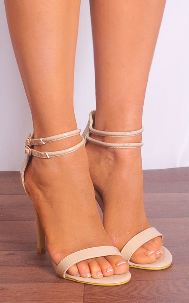 f1db19616ff Nude Patent Barely There Stilettos Ankle Strap Strappy Sandals High Heels  by Shoe Closet
