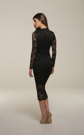 Savannah Black Lace Bodycon Midi Dress by Honor Gold