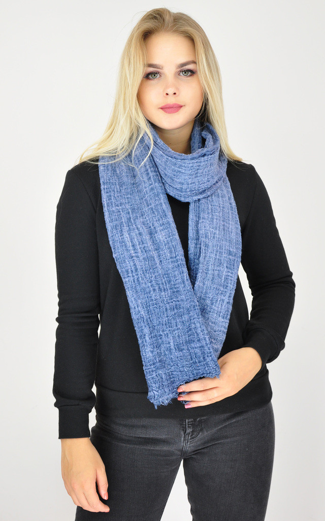 Woven Oversized Scarf in Blue by GOLDKID LONDON