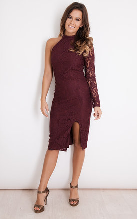 Rosa Lace One Shoulder Bodycon Dress Burgundy by Girl In Mind