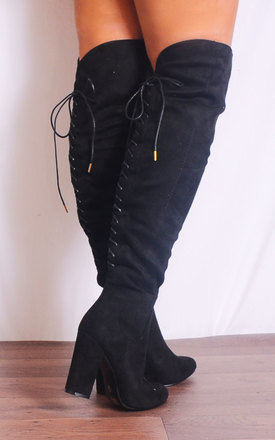 Black Over the Knee Lace Ups Boots High Heel by Shoe Closet