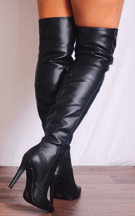 Black Pu Leather Thigh High Over the Knee Stiletto Pointed Boots by Shoe Closet