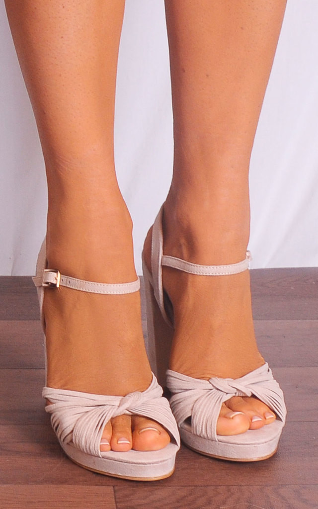 Rose Nude Barely There Strappy Sandals by Shoe Closet