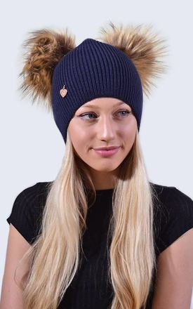 Double Navy Hat with Brown Faux Fur Poms by Amelia Jane London