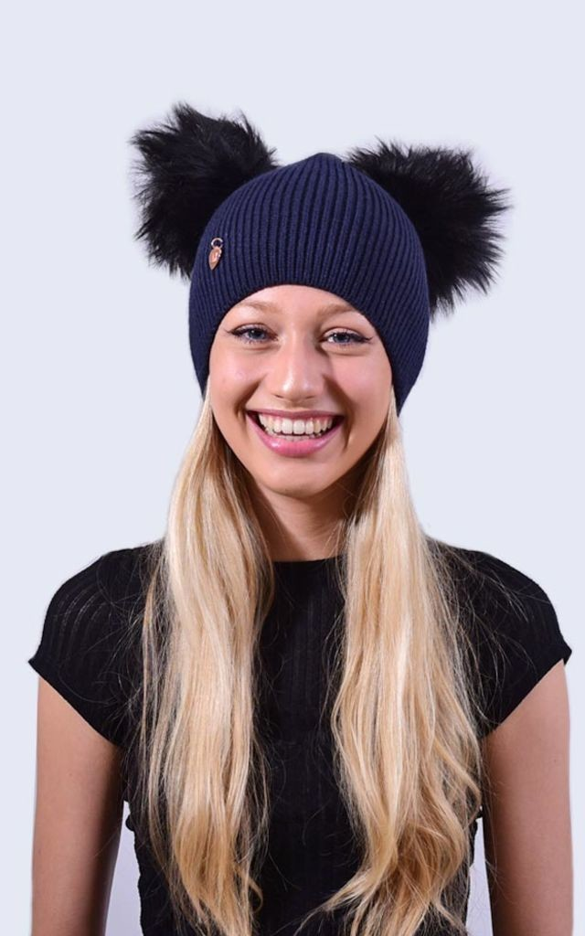 Double Navy Hat with Black Faux Fur Poms by Amelia Jane London