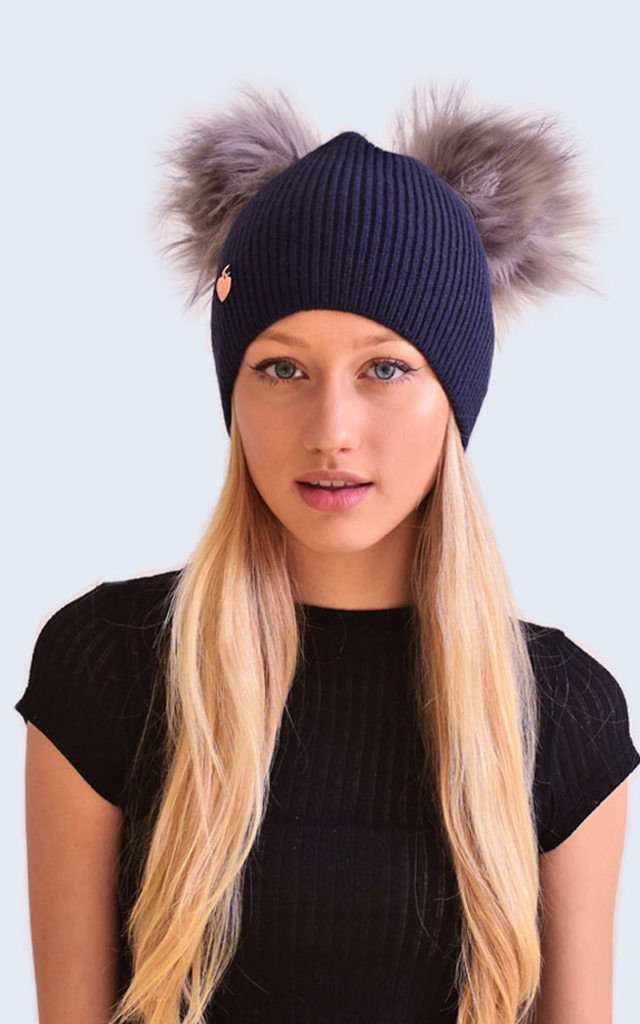 Double Navy Hat with Grey Faux Fur Poms by Amelia Jane London