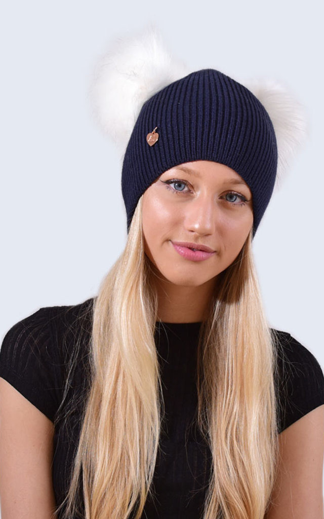 Double Navy Hat with White Faux Fur Poms by Amelia Jane London