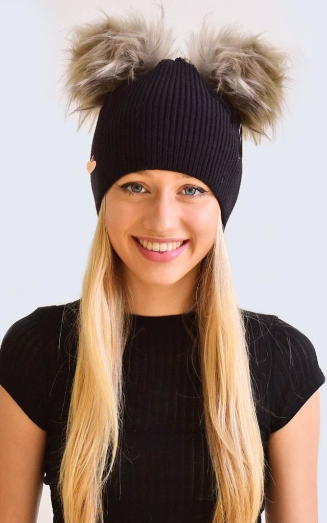 Double Black Hat with Grey Faux Fur Poms by Amelia Jane London