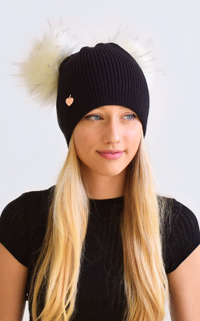 Double Black Hat with White Faux Fur Poms by Amelia Jane London