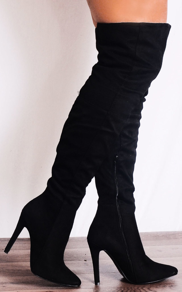 Black Faux Suede Thigh High Over the Knee Stiletto Pointed Boots by Shoe Closet