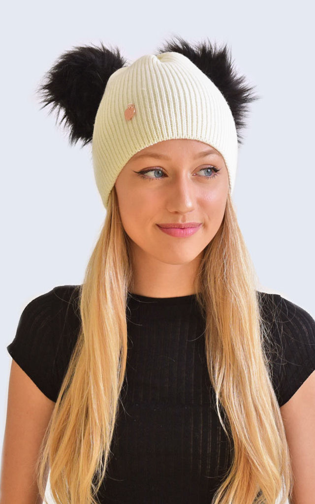 Double Ivory Hat with Black Faux Fur Poms by Amelia Jane London