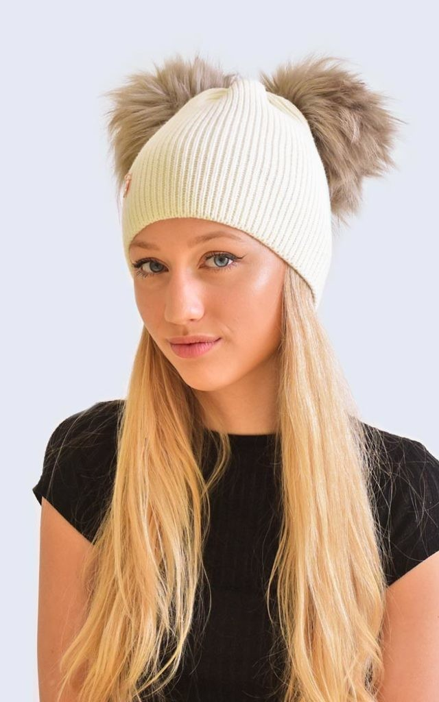 Double Ivory Hat with Grey Faux Fur Poms by Amelia Jane London
