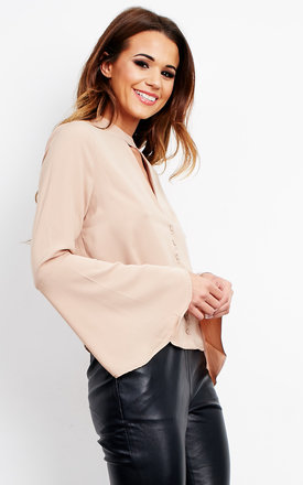 Choker Fluted Sleeve Blouse by Neon Rose