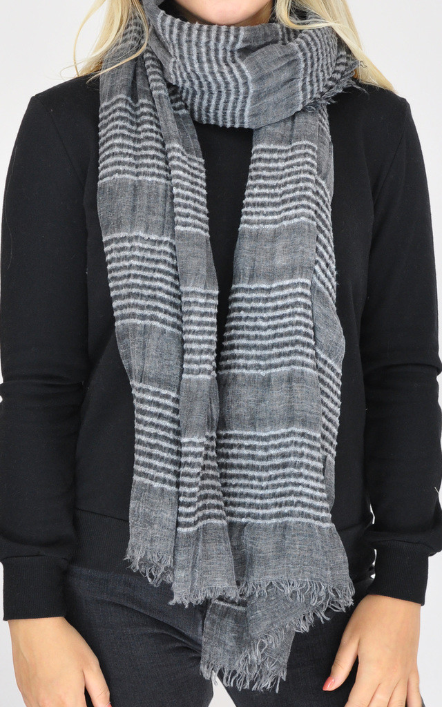 PLAIN WOVEN OVERSIZED SCARF-DARK GREY by GOLDKID LONDON