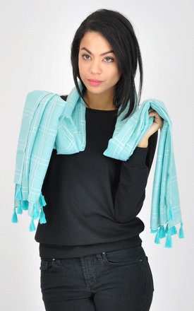 Turquoise check scarf by GOLDKID LONDON
