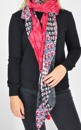Mixed print scarf in red/navy by GOLDKID LONDON