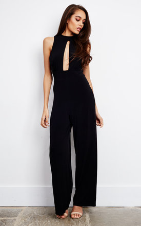 5080423d0127 Sleeveless Wide Leg Keyhole Jumpsuit With Open Back In Black Product photo