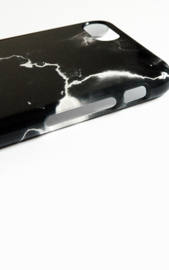 Cracked black marble monogram phone case by Rianna Phillips