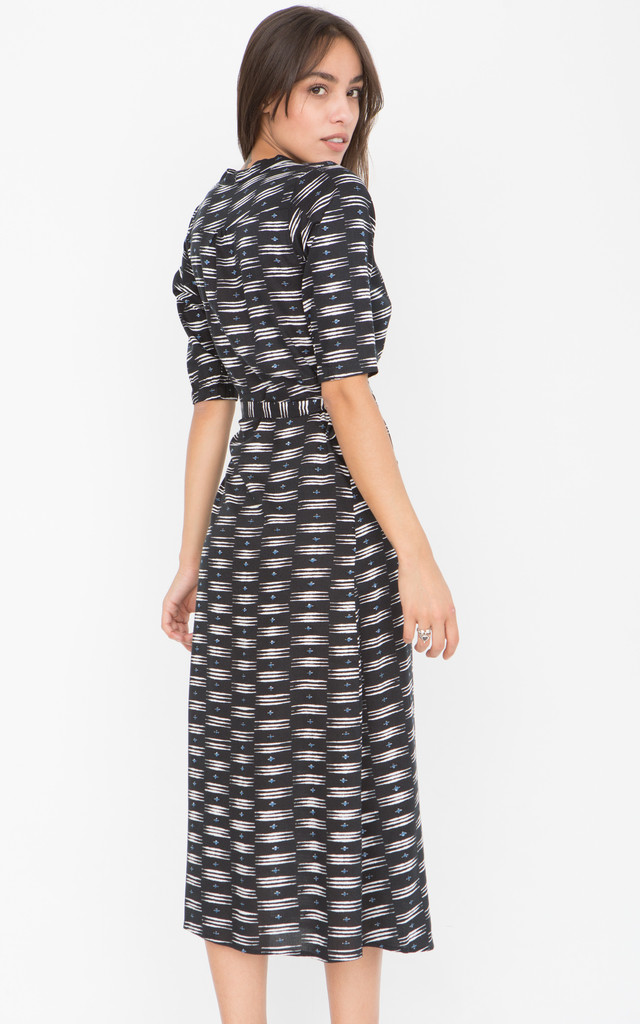 Allover Print 3/4 Sleeves Wrap Dress by likemary