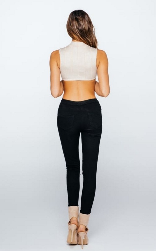 Nude Backless Bodysuit in Lurex by Girl Outlaw