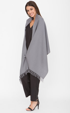 Oversized Merino Wool Pashmina Travel Scarf in Grey by likemary