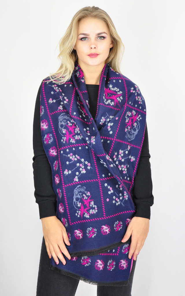 SWALLOW BIRD FLORAL PRINT WINTER SCARF by GOLDKID LONDON