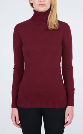 Polo Neck Jumper- Rouge by Lily and Carter London