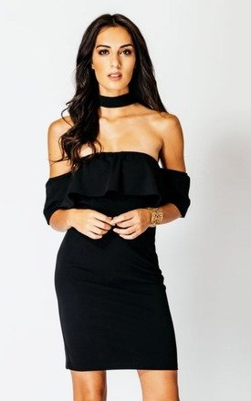 Off the Shoulder Black Ruffle Dress With Choker by Girl Outlaw