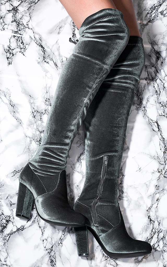 JACKSON Lace Up Block Heel Thigh Boots - Grey Velvet Style by SpyLoveBuy