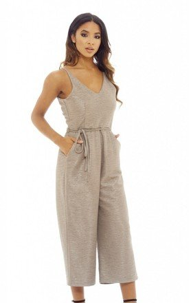 TEXTURED CULOTTE JUMPSUIT by AX Paris