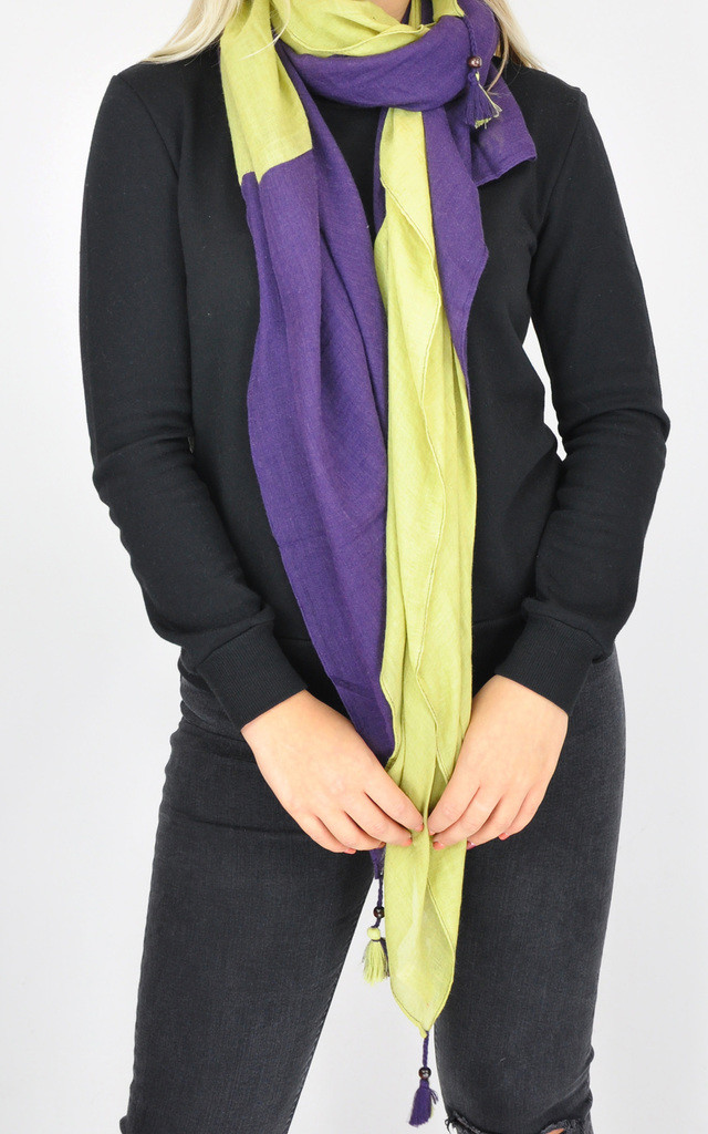 COLOR BLOCK TASSEL SCARF by GOLDKID LONDON