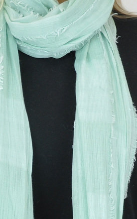 Frayed Edge Scarf with Mint Square Print by GOLDKID LONDON
