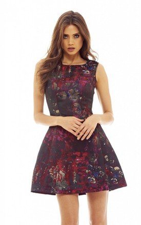 PRINTED MINI SKATER DRESS by AX Paris
