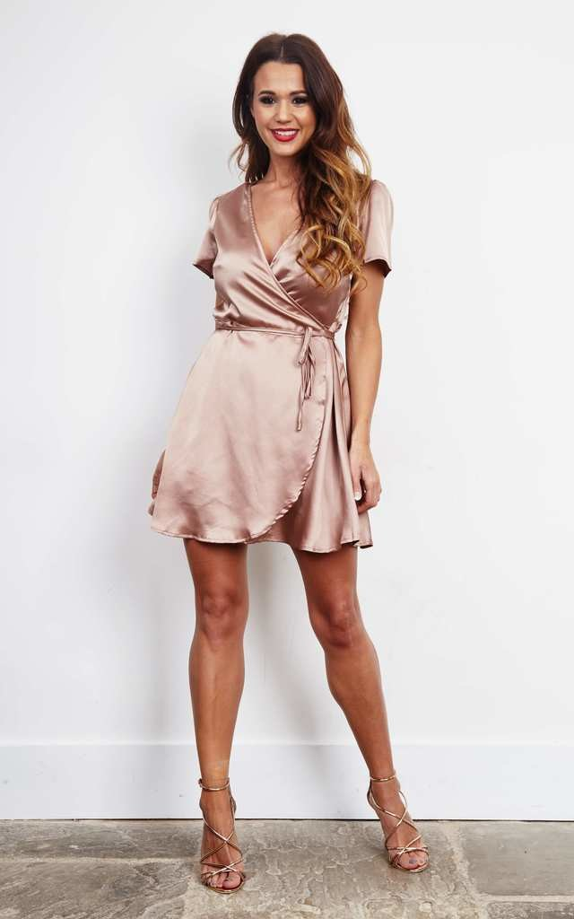 Nude Satin Cross Over Mini Dress by Glamorous