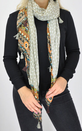FLORAL PRINT WOVEN OVERSIZED TASSEL SCARF in Beige by GOLDKID LONDON