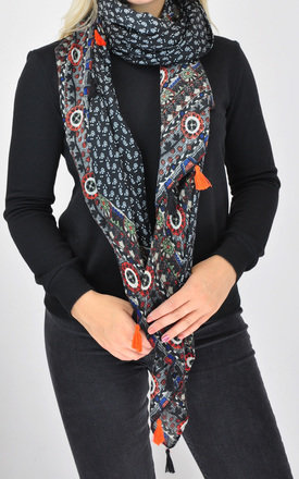 FLORAL PRINT WOVEN OVERSIZED TASSEL SCARF by GOLDKID LONDON