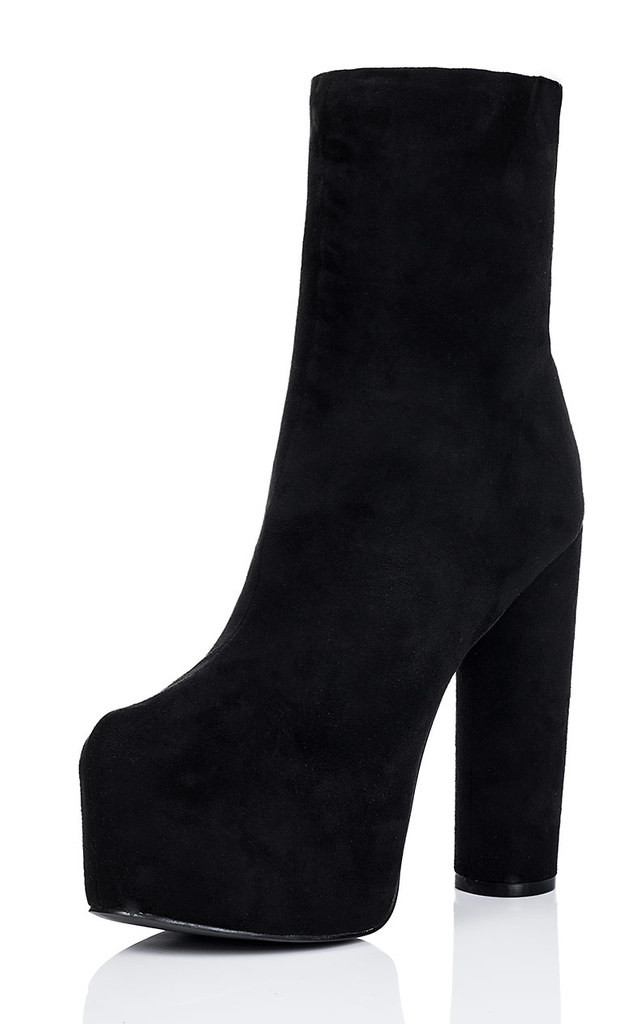 MEOW Concealed Platform Fitted Sock Cylinder Heel Ankle Boots Shoes - Black Suede Style by SpyLoveBuy