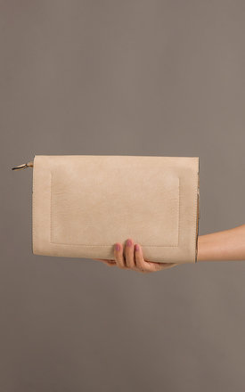 Elizabeth Faux Leather Clutch Bag in Beige by KoKo Couture