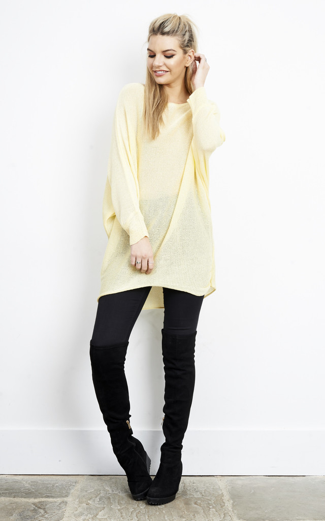 YELLOW OVERSIZED BATWING KNIT CARDIGAN by Aftershock London