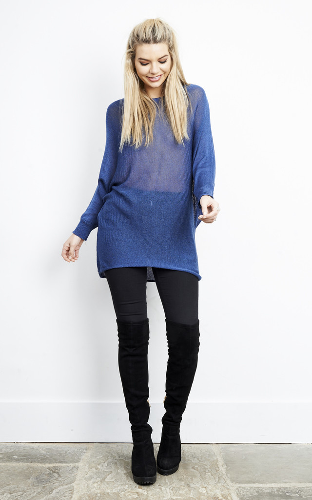 TEAL OVERSIZED BATWING KNIT CARDIGAN by Aftershock London