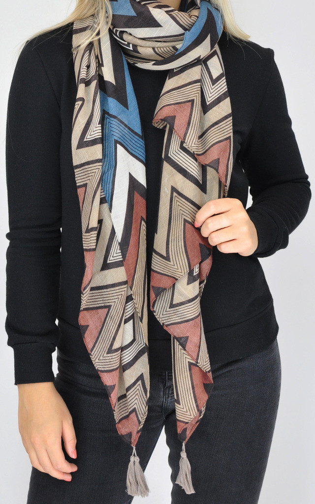 CHEVRON PRINT WOVEN OVERSIZED SCARF by GOLDKID LONDON