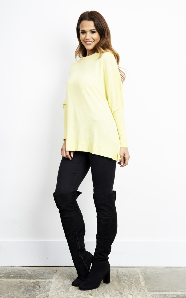 YELLOW OVERSIZED LONG KNIT JUMPER by Aftershock London