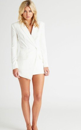 Ella White Cross Back Blazer Playsuit by UNIQUE21
