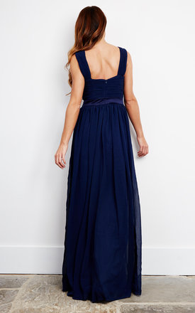 Cross Front pleated maxi dress in navy by D.Anna