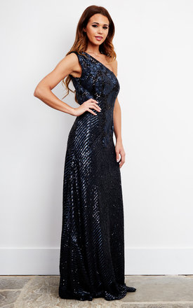 One-shoulder Sequin Embellished Maxi Dress by D.Anna