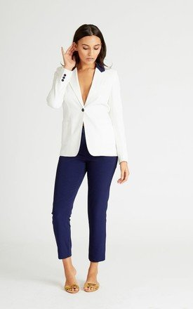 White Contrast Blazer by UNIQUE21