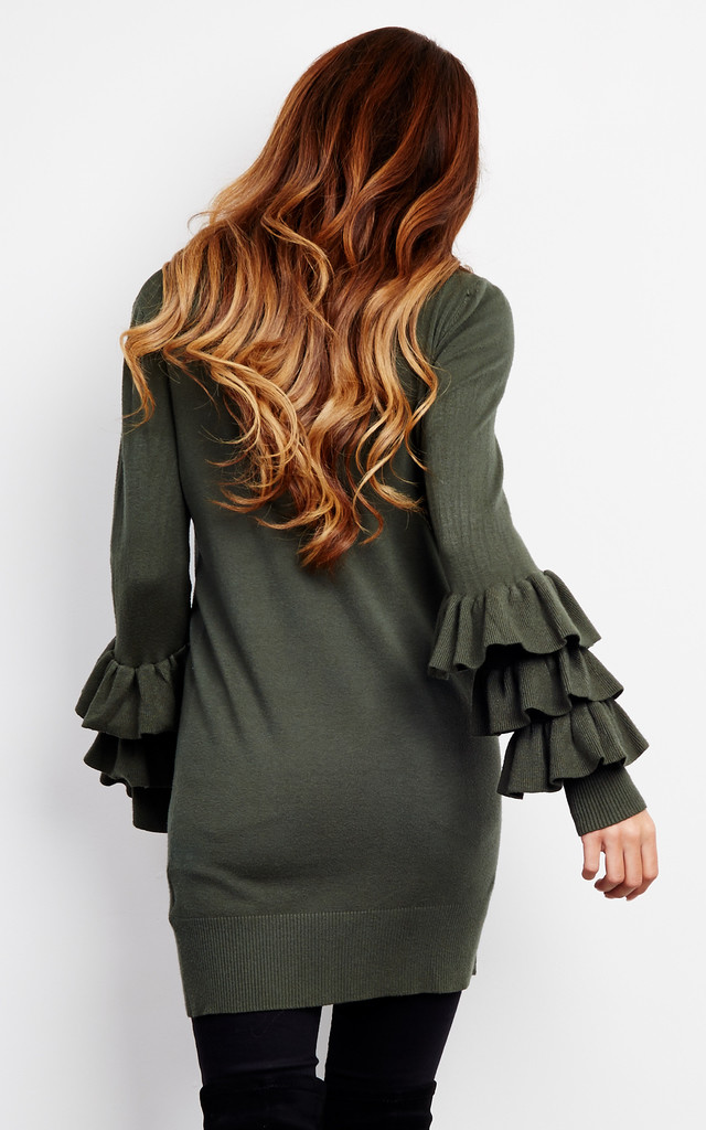 KHAKI FRILL SLEEVE FITTED JUMPER DRESS by Lilah Rose