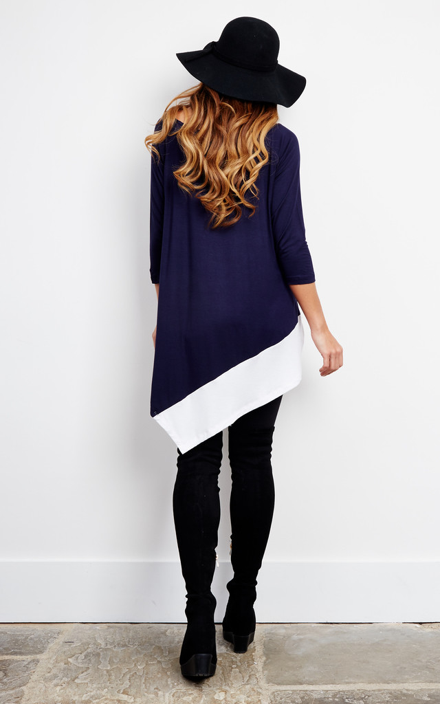 Navy Asymmetric Oversized Top by Oeuvre