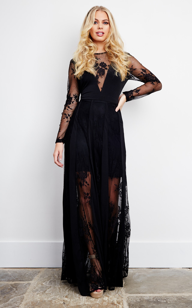 Black Lace V Neck Maxi Dress Glamorous Silkfred
